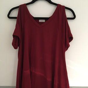Red bare shoulder top